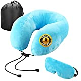 Trajectory Wanderer Blue Neck Pillow with Premium Velvet Eye mask and Travel Carry