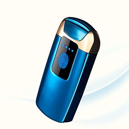 CMSJ Winddichte Feuerzeug-Touch-Induktion Flammenloser Doppelbogen-Akku Kreativer USB-Fahrrad-Zigarettenanzünder Mit Batterieanzeige Herrengeschenke,Blue 1