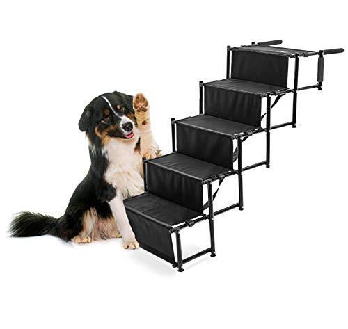 FRIEDRISCHS original Hundetreppe 5 Stufen | gelenkschonend für Ihr Haustier | hochwertiger, Faltbarer Kofferraumeinstieg mit 5 Stufen | Hund | tragbare, Faltbare Hundeleiter | praktisch