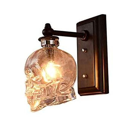 Lámpara de pared de calavera de cristal de viento industrial creativa nórdica retro americana, decoración de escalera de pasillo moderna simple iluminación de aplique de pared de barra, sin int