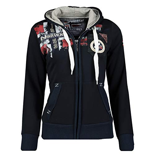 Geographical Norway FESPOTE Lady - Sweat Femme Capuche Grande Poches Kangourou - Sweatshirt Femmes Manche Longue Pull Casual Manches Longues Chaud - Hoodie Veste Tops Sport Taille (Marine L)