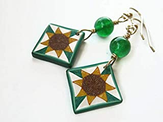 Sunflower Quilt Block Earrings, 14K Gold Filled, Green Quartz Quilters Jewelry, Limited Edition Polymer Clay