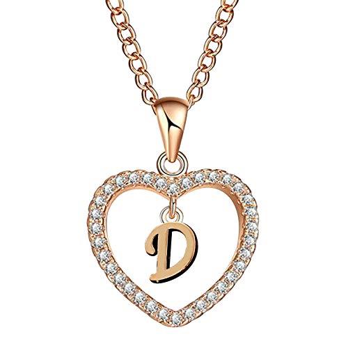 Moda Mujer Regalo 26 Letra Inglesa Nombre Cadena Colgante Collares Joyería(Oro Rosa)