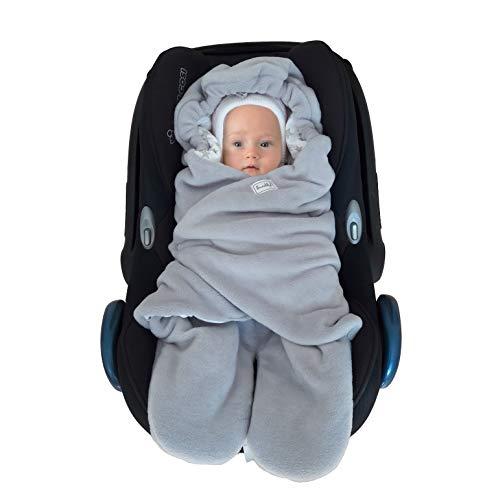 SWADDYL ® Fußsack Einschlagdecke Maxi cosi I Baby Wintersack I Babydecke für Babyschale, Kinderwagen - für Winter aus Fleece/Baumwolle (Weiß)