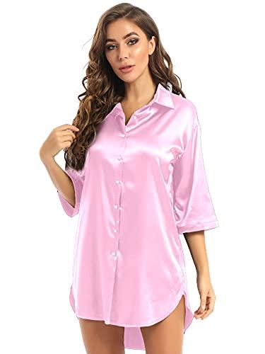 IEFIEL Camisón Sexy de Saten para Mujer Camison Seda Cómoda con Botónes Pijama Verano de Una Pieza Sexy Ropa de Dormir Rosa XXL