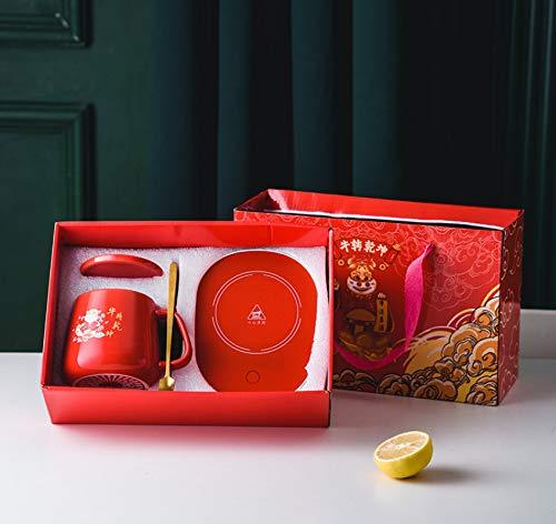 Taza de cerámica al vacío Taza de 55 ° C Taza de termostato Taza caliente Posavasos de calentamiento creativo Leche caliente D