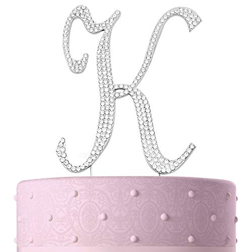Letter K, Initials, Happy Birthday Cake Topper, Wedding, Anniversary, Vow Renewal, Crystal Rhinestones on Silver Metal, Party Decorations, Favors