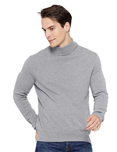 State Cashmere Men's Classic Turtleneck Sweater 100% Pure Cashmere Long Sleeve Pullover (X-Large, Heather Grey)
