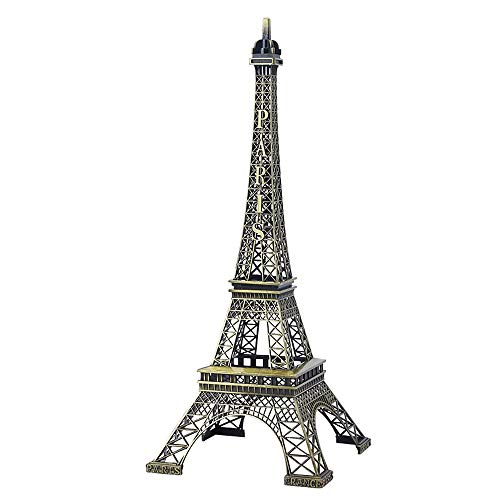 SuperglockT Estatua de la Torre Eiffel de bronce, modelo de aleación de cinc, figura de torre Eiffel, recuerdo de mesa, habitación, figura decorativa (25 cm)