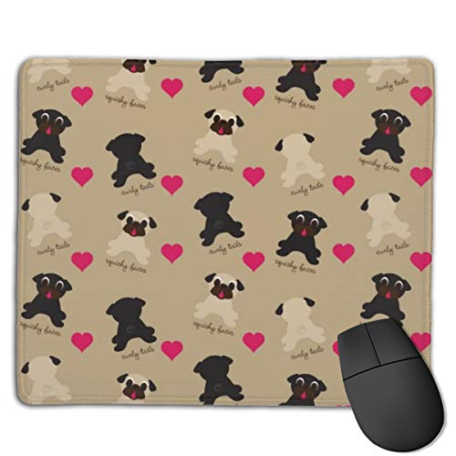 Joseph Mouse Pad,Non-Slip Waterproof Rubber Base Mousepad for Laptop-Fawn Black Pink Pug