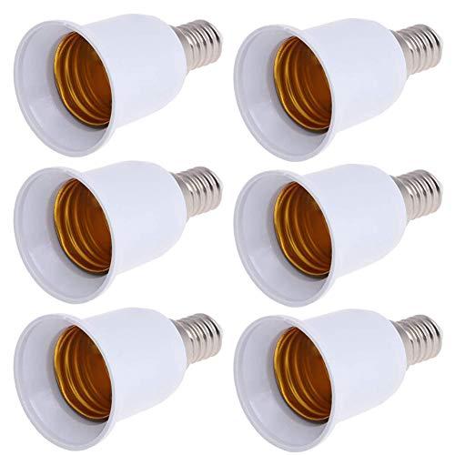Babioms 6piezas Casquillo de Lámpara Adaptador, E14 a E27 LED Adaptador de enchufe de lampara Casquillo de bombilla, Adecuado Para LED Halógena y de Ahorro Energético