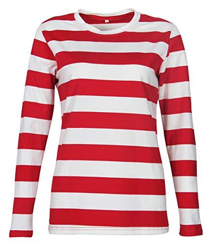 Smile Fish Camiseta de manga larga a rayas para mujer, cuello redondo,...