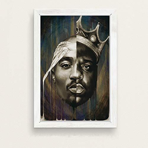 Flduod De beruchte GROTE Biggie Smalls Tupac PAC Shakur Hip Hop Gangsta Rap Muziek Kunst Schilderij Poster Muur Home Decor hoge kwaliteit home Decor voor kinderkamer 60x90cm