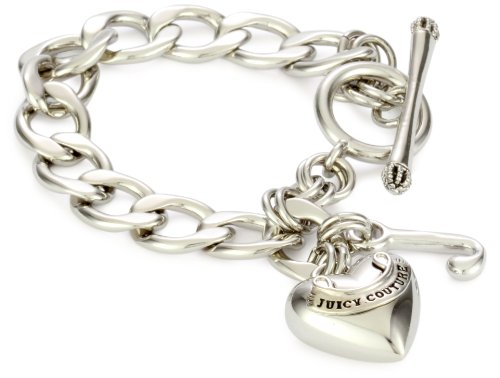 Juicy Couture Women's Toggle Heart Starter Charm Bracelet Silver, One Size