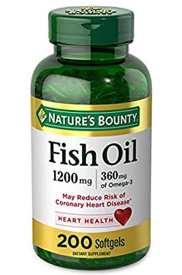 FIsh Oil by Nature's Bounty, Dietary Supplement, Omega 3. Supports Heart Health, 1200 Mg, 200 Rapid Release Softgels