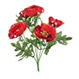 3x Beautiful Artificial Silk Red Poppy bush - 5 Heads each with Foliage - Home / cottage GArden Grave