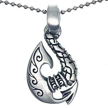 Tribal Hawaiian Polynesian Saipanese Maori Tattoo Whale s Tail Hei Matau Whale Fish Hook Tiki Protection Amulet Pewter Men s Pendant Necklace Wealth Money Charm Safety Talisman w Silver Ball Chain