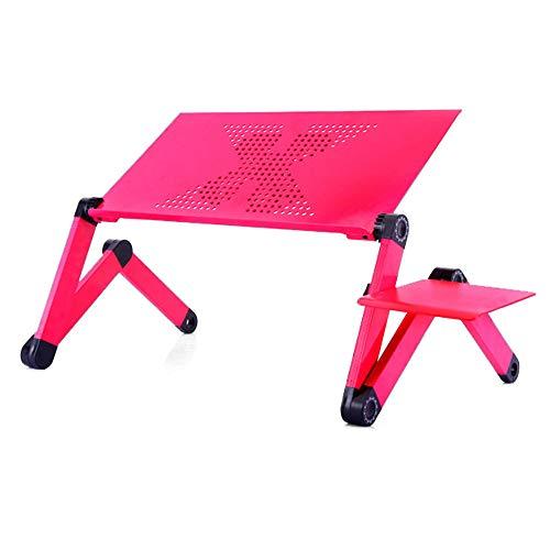Laptop Stand voor thuis, draagbare aluminium notebook computer tafel, met inklapbare poten en muis Board, voor Office en Studie,Red,42cm