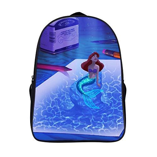 Backpack Teenager SchoolBag, The Little Princess Ariel Mermaid (30), for Teens, Unisex Casual Daypack, 16 inch