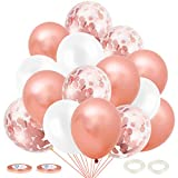 JOJOR Or Rose Confettis Ballons,60 Pièces Rose Gold Helium Ballon pour Mariage, Anniversaire, Bapteme, Baby Shower Fille, Cérémonie Décorations de Fête