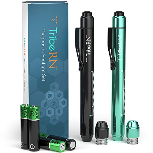 Nursing Penlight with Pupil Gauge Set by Tribe RN - Medical Pen Light for Nurses, Nursing Students, and EMTs - Interchangeable LED Bulbs with Pupil Gauge (Black/Mint)