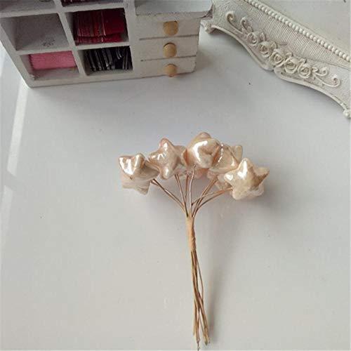 Preisvergleich Produktbild OGM Blumen-Accessoires mit Draht,  fünfzackiger Stern,  handgefertigt,  10 Stück hellorange