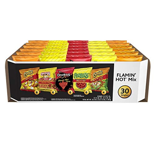 Frito Lay Flamin Hot Mix 30 Bolsas - Incluye Flamin Hot Cheetos, Papas Chester, Munchies, Funyuns, Cheetos crujiente Limón