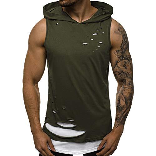 Geilisungren Herren Tanktop Tank Tops Löchern Patchwork Tankshirt Ärmellos T-Shirt mit Kapuze Sommer Zwei in eins Weste Muskelshirt Fitness Bluse Hoodie für Männer