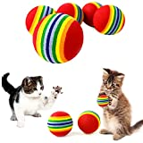 PET SHOW 10pcs 1.38' Red Rainbow Cat Toy Balls Soft EVA Foam Interactive Indoor Kittens Favorite Toys 35mm Dia. Small Dogs Puppies Toy Balls Bulk Activity Chase Quiet Play Sponge Ball