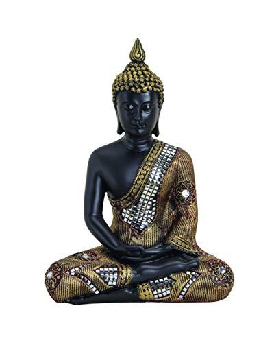 WOMA Deko Buddha Figur Sitzend mit Silbernen Verzierungen - 29cm hoch - Wetterfeste Buddha Statue als Dekoration für Haus, Wohnung & Garten - Skulptur aus Polyresin für Innen & Außen - Schwarz Silber
