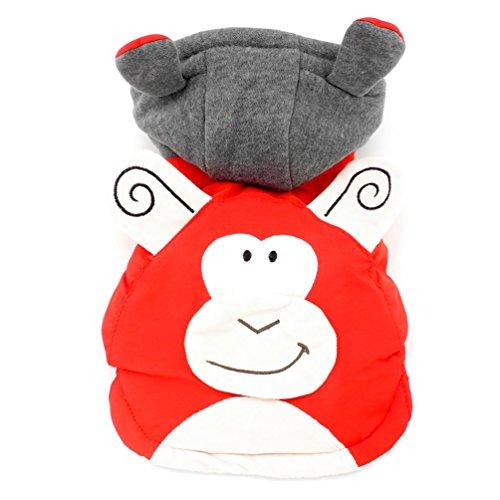 Smalllee Lucky Ranger Singe Costume Cotton-Padded à Capuche Manteau avec Doublure en Polaire, Rouge, XL