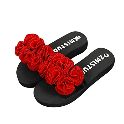 Scarpe donna,sandali,Sneaker donna,Scarpe outdoor multisport donna,Yanhoo® Donne Fiore Estate sandali pantofola Interno All'aperto Infradito Spiaggia Scarpe (40, Rosso)