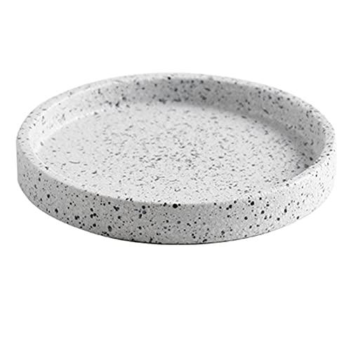 Platos de cerámica de terrazo, expositores de joyería, tazas, jarrones y bandejas (Color : White, Size : 6.69 * 6.69 * 0.98inch)