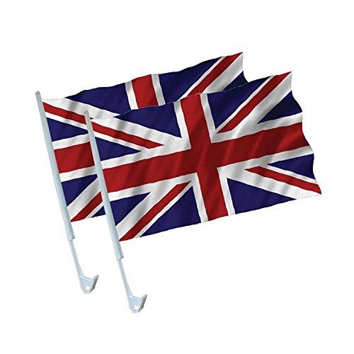 amscan 2er Set AUTOFAHNE England GROSSBRITANNIEN Union Jack DEKO Fahnen