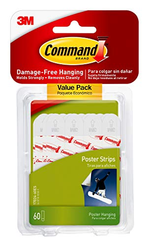 Command Poster Hanging Strips Value Pack, Small, White, 60-Strips, Decorate Damage-Free