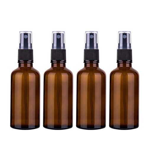 Sookg 4×100ml Glas Sprühflaschen,Es hat eine Zerstäubungsfunktion und eine anti-ultraviolette Wirkung,Für Parfüm, ätherisches Öl, Hautpflegelotion, Gesichtstoner (braun)