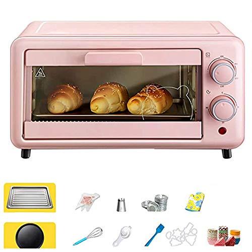 Backofen, Mini Backofen Mit Wasserdampf Funktion Und Praktischem Krümelblech,pizzaofen,temperatur 100-250°c | Abnehmbare Grillplatte | 30 Min.timer | 800w Rosa