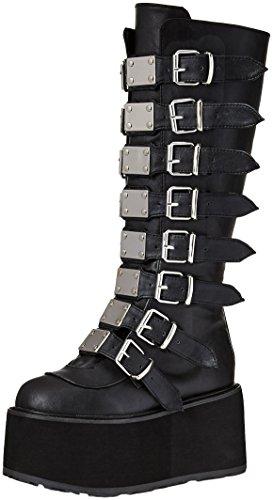 Condenados-318 hasta la rodilla botas altas de plataforma con hebillas metálicas y detalles de color negro mate - (UE 37 = US 7) - Demonia