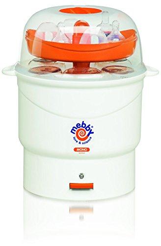 Mebby 91597 Sterilizzatore Mono Elettrico per Biberon, Vapore con Vaschetta Contenitrice