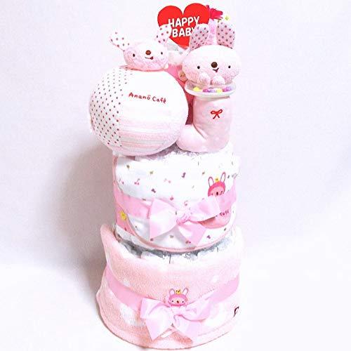 18011おむつケーキ3段女の子 日本製綿素材ベビーギフトanano cafe(アナノカフェ)オムツケーキ