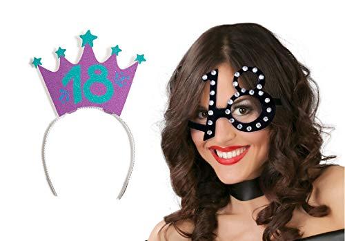 PARTYLANDIA Juego de disfraz de cumpleaos de 18 aos con gafas y diadema de antenas y corona para nia (corona)