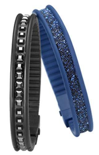 Hip Hop Bracelet Rail Noir/Bleu
