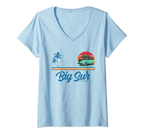 Womens California Big Sur retro surfer V-Neck T-Shirt