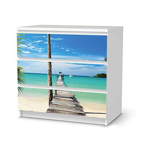 creatisto Möbelfolie passend für IKEA Malm Kommode 3 Schubladen I Möbeldeko - Möbel-Folie Tattoo Sticker I Wohn Deko Ideen für Wohnzimmer, Schlafzimmer - Design: Blue Water