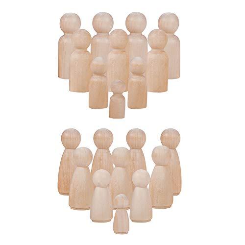 PandaHall Elite 48 Pieces Unfinished Wood Peg Doll Bodies Wooden People Dekorationen 8 Styles für Kunsthandwerk, männlich und weiblich