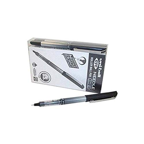 Uni-Ball UB-185S 0.5mm Tip Micro Point Eye Needle Stainless Steel Pen - Black (Pack of 14)