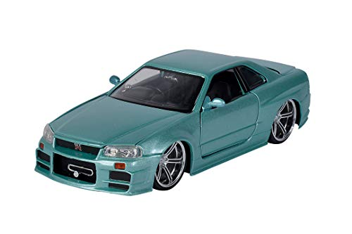 Jada Toys 253203066 Fast & Furious Brian's Nissan Skyline, 2002, GTR (R34), zu öffnende Türen, Kofferraum und Motorhaube, Modellauto, Spielzeugauto, Maßstab 1:24, Silber