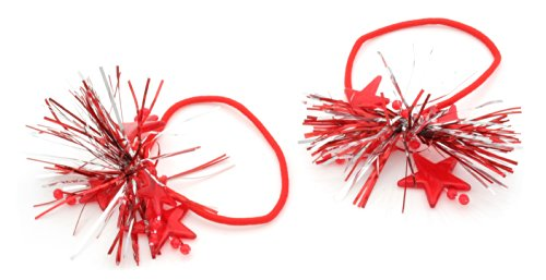 2 Christmas Red & Silver Tinsel & Red Star Decoration Hair Bobbles Bands by Zest by Zest