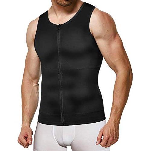 Gotoly Men Compression Shirts Slimming Undershirts Shapewear Waist Trainer Body Shaper Vest Zipper Tank Top
