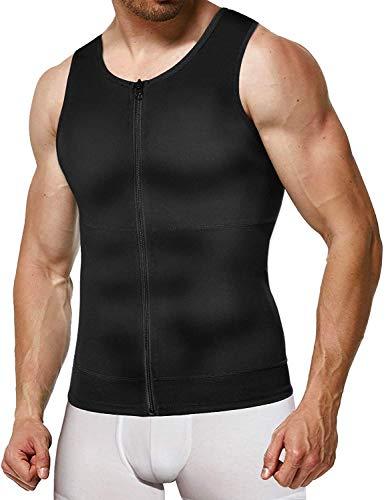 Gotoly Herren Kompressionshirt Unterhemden Shapewear Funktionsshirt Figurformend Body Shaper Bauch Weg Unterhemd Shirt Fur Abnehmen (Schwarz, L)